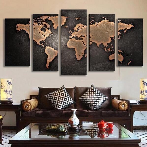 5 Stks/set Moderne Abstracte Wereldkaart Muur Schilderkunst Wereld kaart Canvas Gedrukt Schilderen voor Woonkamer Home Decor Foto P014