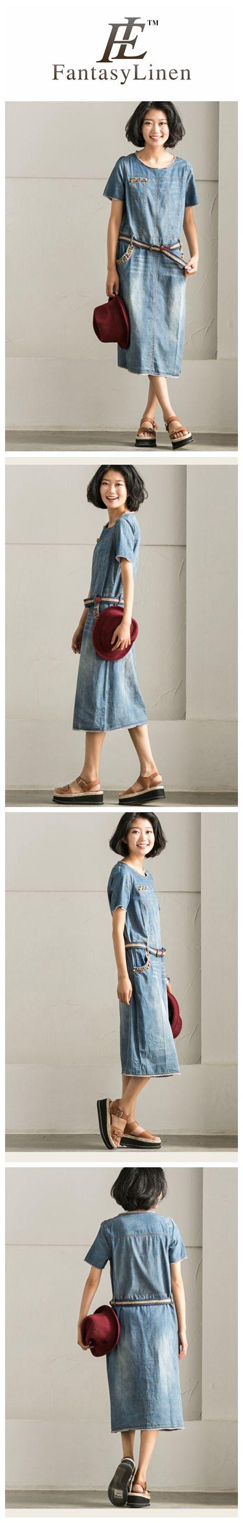 Blue Vantage Denim Pocket Long Dress Women Clothes