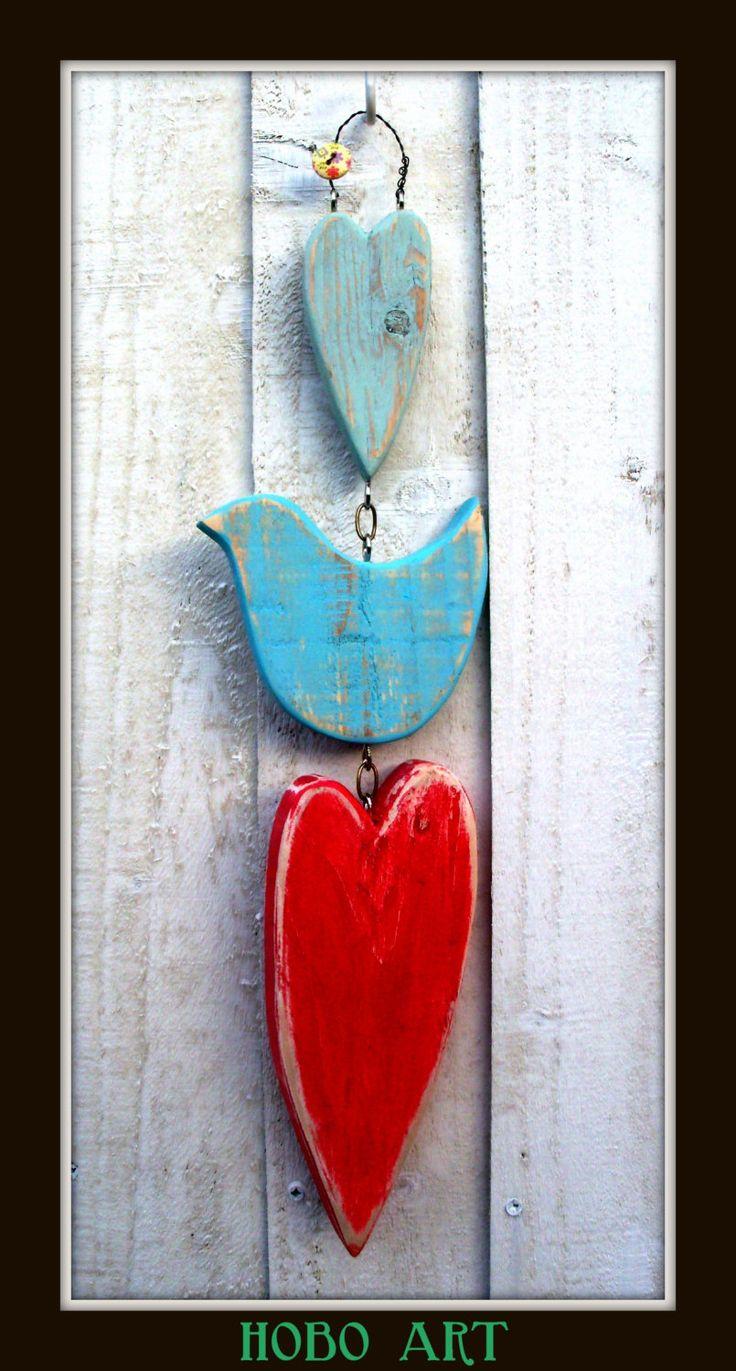 sweet WOODEN hearts and LOVE bird wall hanging RUSTIC shabby chic folk art. £10.00, via Etsy.