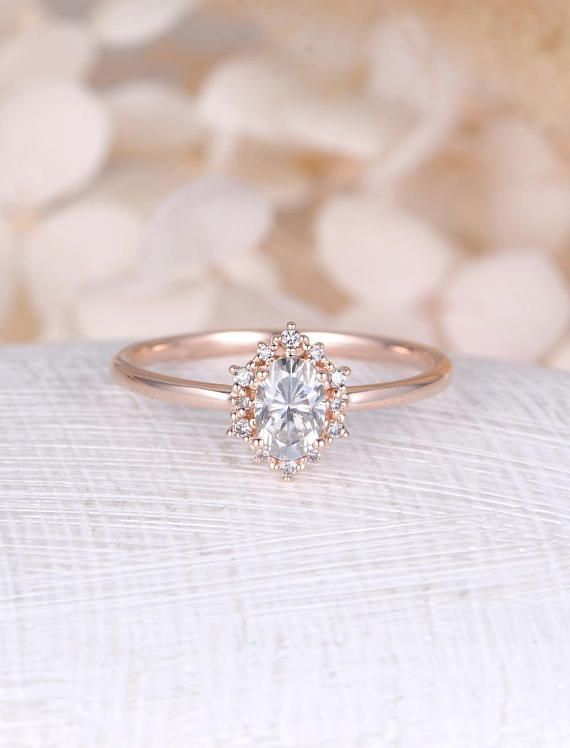 Moonstone Engagement Ring Rose Gold Vintage Engagement Ring Oval