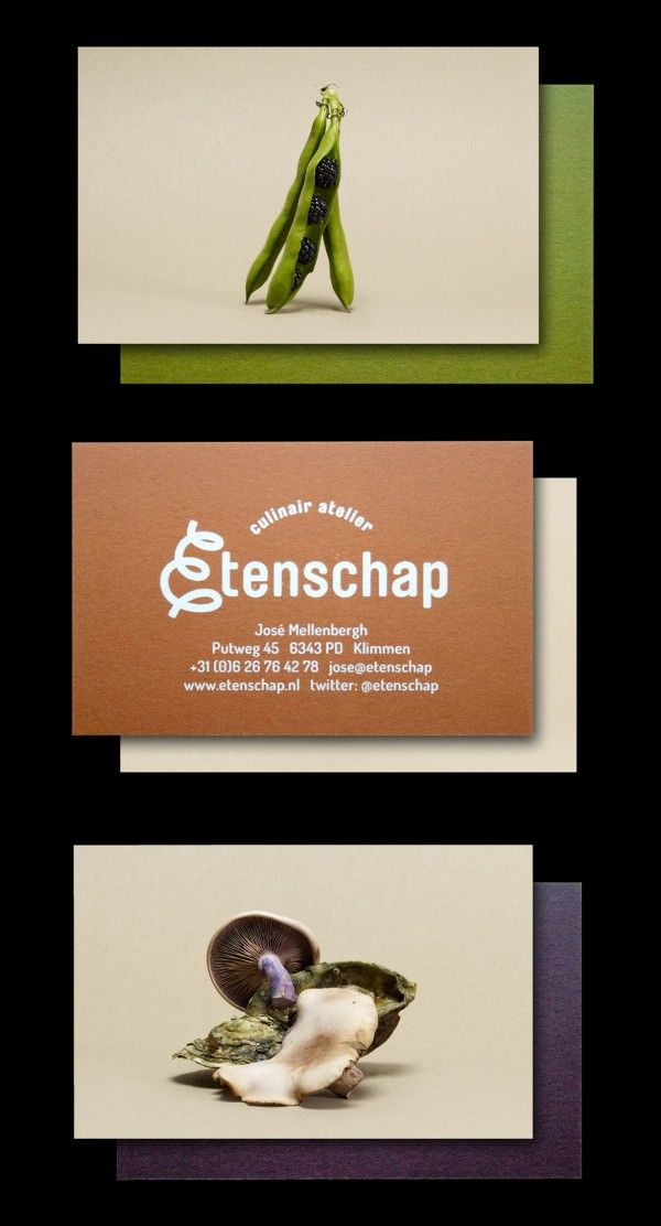 Businesscards for Etenschap, part of the brand identity that's based on food photography. Created by Festina Lente Collective - branding and digital services - in Amsterdam, the Netherlands. www.festinalentecollective.com