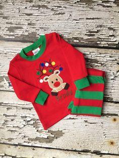 Christmas Pajamas - Reindeer PJS - Red/Green Striped Pajamas - Boys PJS - Boy Reindeer Pajamas