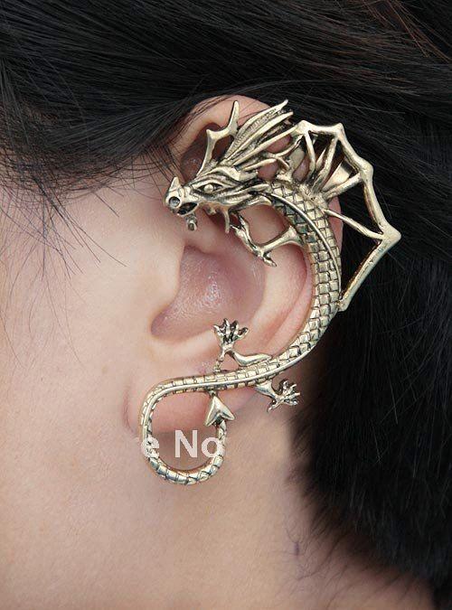 Bijou d'oreille dragon à dorsale 2 couleur argent, boucle d'oreille