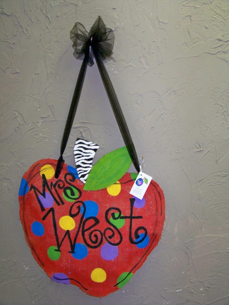 Burlap Teacher Door Sign / Hanger by jacksle on Etsy
