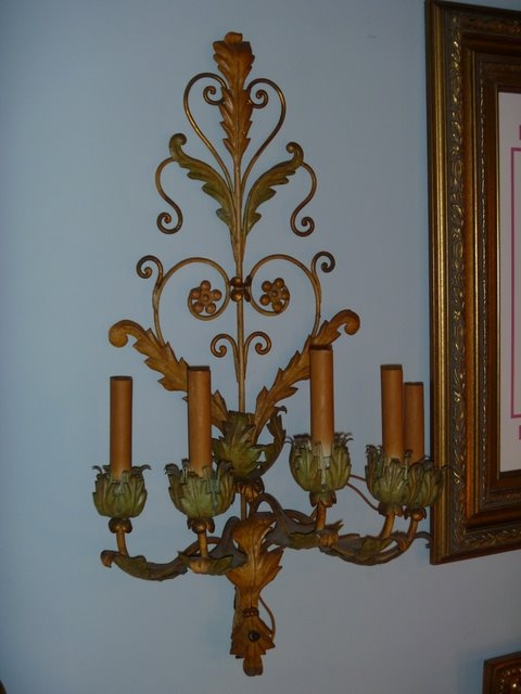 SOLD!  Pair of French metal Sconces (electric)
