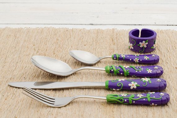 Purple Serving Cutlery Set Spoon Fork Knife Dessert Spoon Napkin Ring Unique Gift Polymer clay Utensils Set