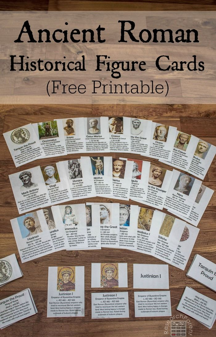 Free, Printable Montessori-Inspired cards for helping kids learn important historical figures from Ancient Rome. Set of 28 cards features Tarquin the Proud, Cincinnatus, Scipio, Gaius Marius, Crassus, Pompey the Great, Cicero, Julius Caesar, Brutus, Mark Antony, Virgil, Horace, Augustus, Tiberius, Caligula, Agrippina the Younger, Nero, Trajan, Hadrian, Marcus Aurelius, Commodus, Maximian, Constantine the Great, Diocletian, Theodosius I, Stilicho, Odoacer, and Justinian I via @researchparent