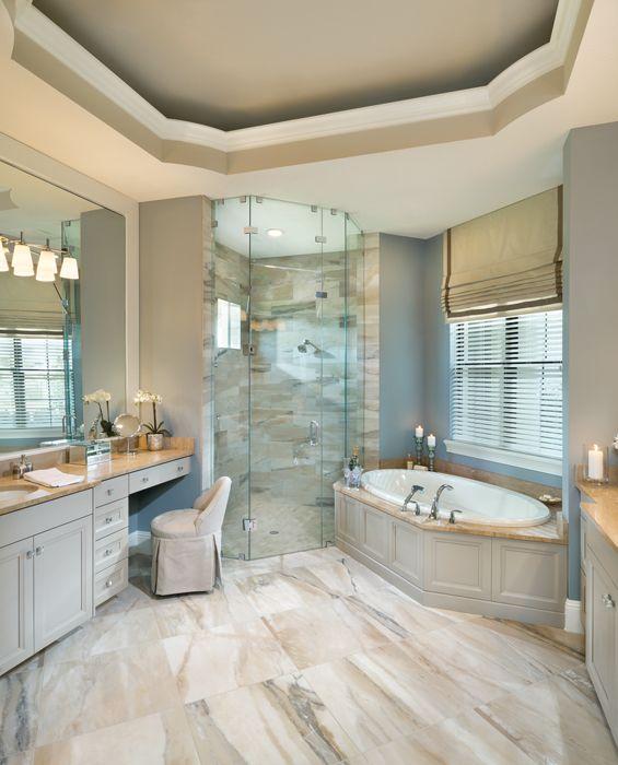 Luxury Designer Home - Bathroom - glass walk in shower…