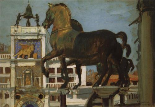 Horses of St. Mark. Venice - Boris Kustodiev 1907