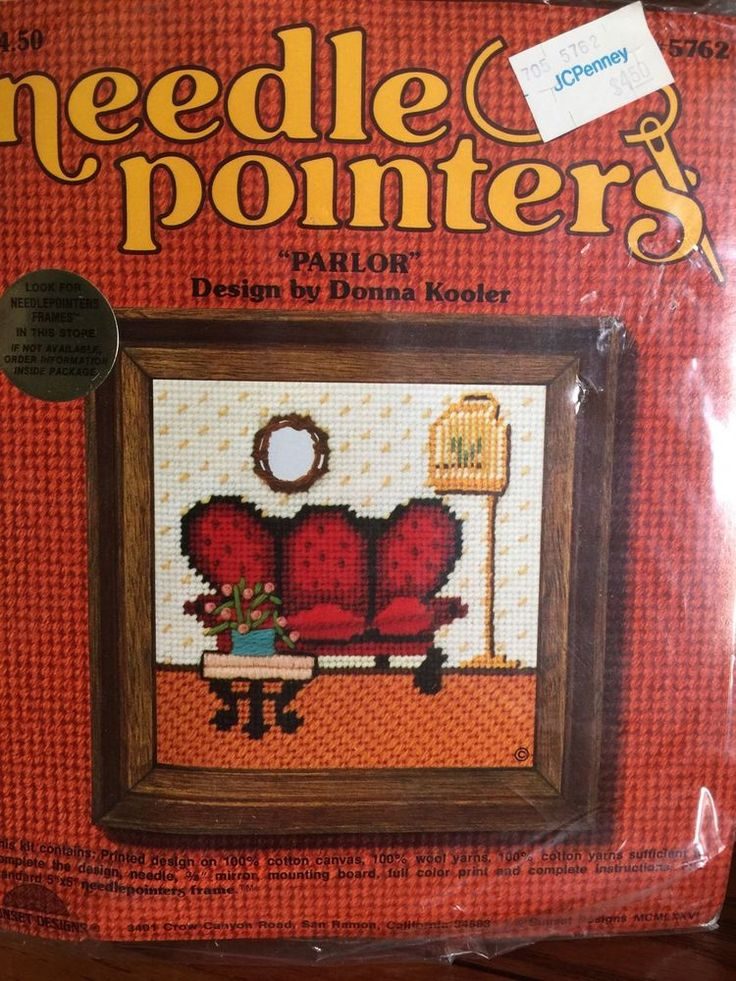 Sunset Needle Pointers Parlor By Donna Kooler NOS 1976 Sealed 5x5 Needlepoint #SunsetDesigns