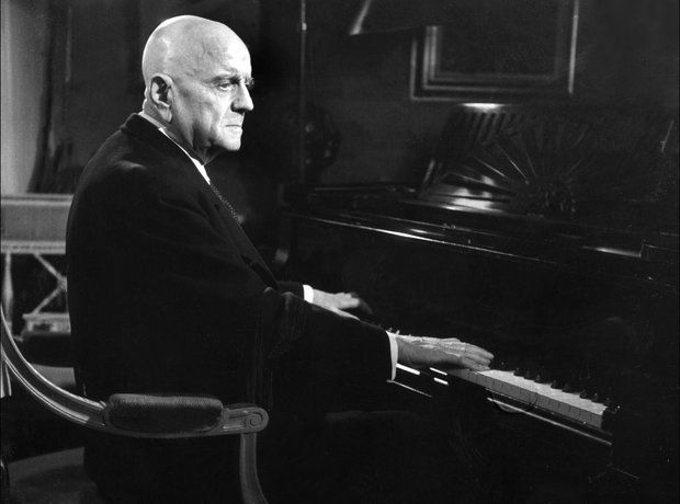 Sibelius Jean Finland composer at his grand piano in Ainola front room