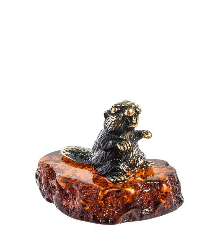 Фигурка «Бобренок» AM-798      Страна производства: Россия;   Материал: латунь/янтарь;          #figures #brass #amber #фигурки #латунь #янтарь
