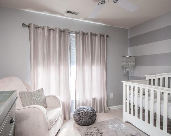 Grey Nursery... Calming add hint of pale pink, purple, or blue, depending on gender of baby.