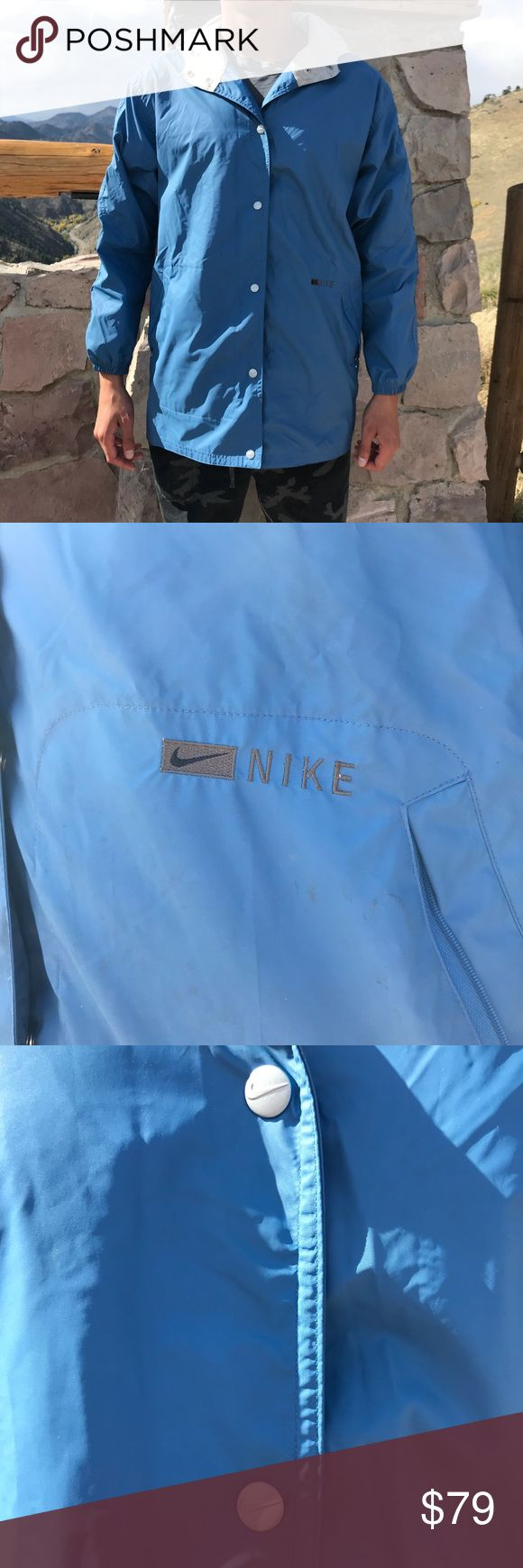 🔥🔥Rare Vintage Nike Jacket This jacket rare vintage Nike jacket is in excellent condition with no defects. Nike swoosh logo on all of the snap buttons. Nike logo on front and back.  Nylon on outside and lining cotton polyester blend. Sky blue color. ⭐️Smoke-free and pet-free home. No trades.  Will work with reasonable offer! Will answer any questions. 1-2 day shipping. BUNDLE to get more out of your shipping and to SAVE with discounts!⭐️ Nike Jackets & Coats