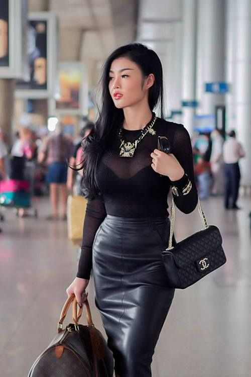 Lovely Combination Of Leather Skirt And Sheer Top