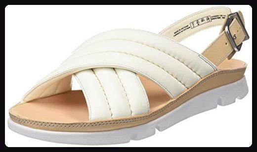 Clarks Damen Tri Nora Flat Slingback Sandalen, Weiß (White Leather), 41.5 EU - Sandalen für frauen (*Partner-Link)