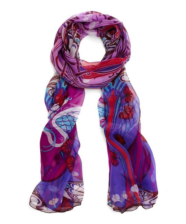 Art Nouveau at its finest - James Millar, Head of Design       Drape this Liberty silk scarf across the shoulders for a timeless trans-seasonal look that exudes elegance.