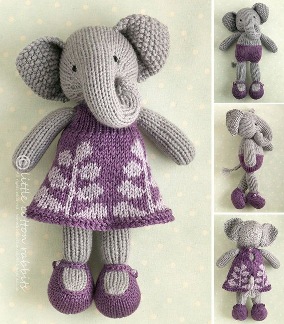 Knitted girl elephant in a frondy frock. All her patterns on Etsy are so…