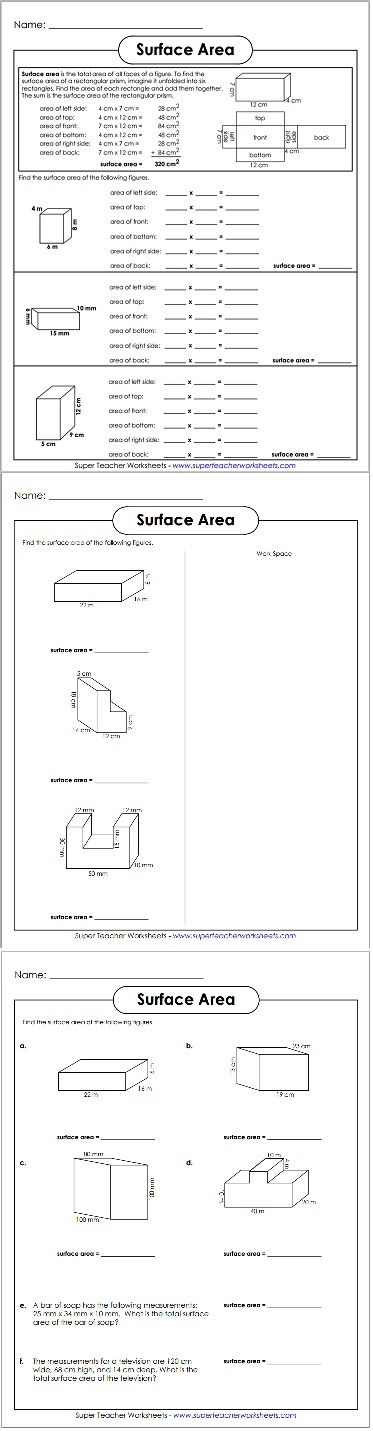 Brand new surface area worksheets just uploaded to our site!