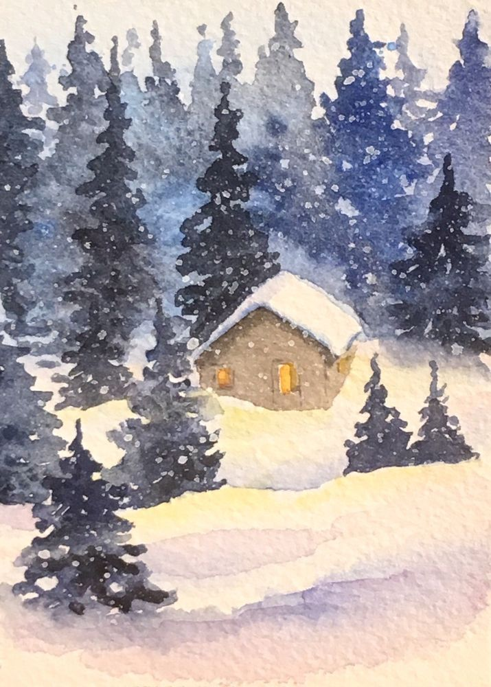 Original Watercolor Landscape Painting Snowy Cabin In Forest ACEO Art Card
