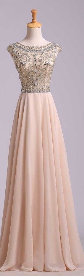 Charming Beading Long Prom Dress,Chiffon Prom Dress,Cap Sleeves