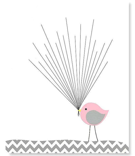 Fingerprint Baby Shower Alternative Guest Book Bird with Balloons Thumbprint Guest Book Gray Pink Yellow Blue Navy Aqua 8 x 10 or 11 x 14