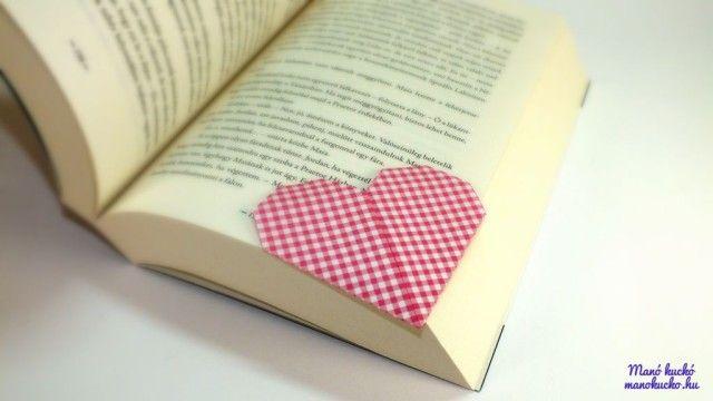 Szív könyvjelző papírból - Manó kuckó