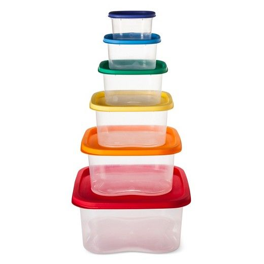 Keep your leftovers fresh in the Square Plastic 12pc Storage Container Set Rainbow. This set of 6 plastic food storage containers with lids use a rainbow of colors for sizes from large to small.