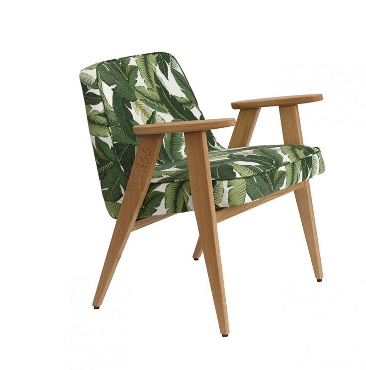 Fauteuil 366 réédité par la marque 366 concept avec un tissu imprimé jungle hyper tendance ! A découvrir sur MonDesign.com #jungle #fauteuil366 #366concept #furniture #fauteuil #design