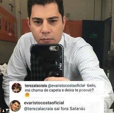 Casado Evaristo Costa responde cantadas de fãs na web
