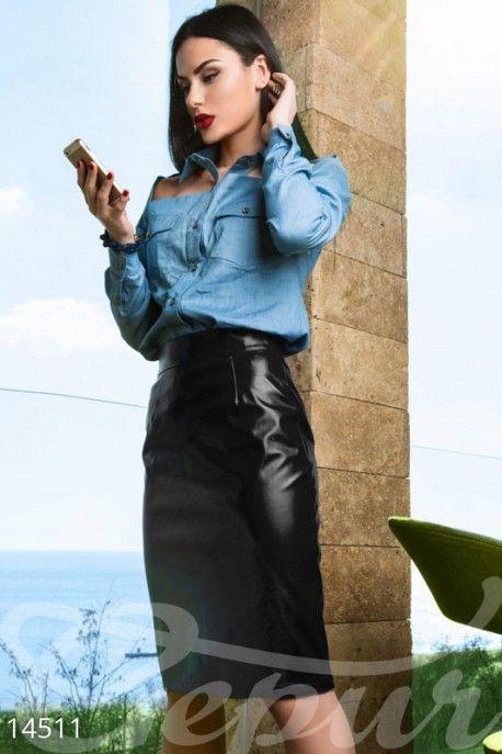 Черная кожаная юбка 14511 фото 2