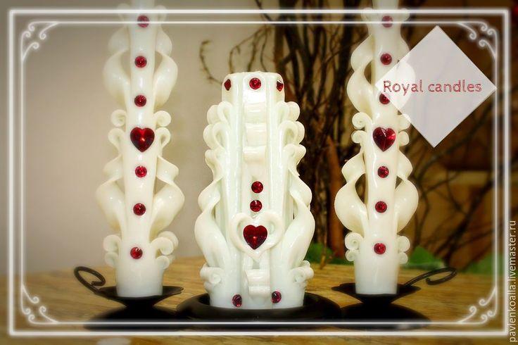 """Купить Набор свадебных свечей """"Большая любовь"""" - белый, сердце, белые свечи, Свечи"""