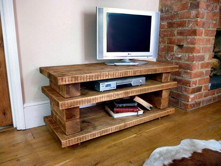 Rustic handmade wooden TV stands