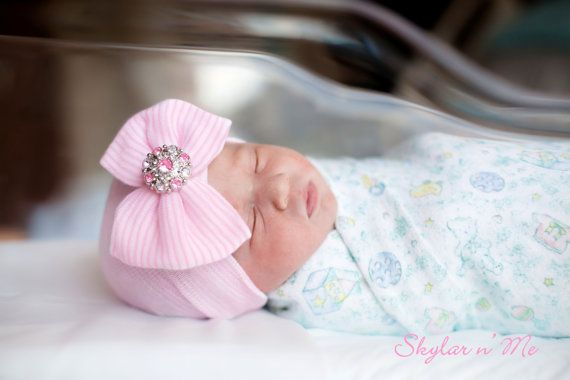 BABY GIRL HAT newborn baby girl baby girl newborn hat by SkylarnMe