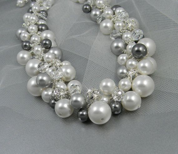 Chunky bridal Necklace Silver black dark gray by CrystalAvenues, $110.00