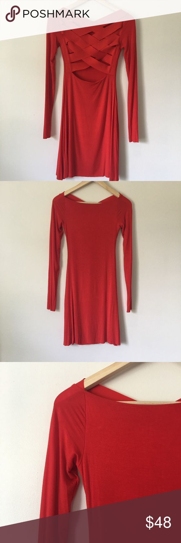 Bailey44 Red Dress Great red dress by Bailey44! Sext bandage cutout detail at back. Long sleeve. Lined. Slight fuzzies as pictured, which is typical with this material, overall in great condition! Make an offer! 🎉 Anthropologie Dresses