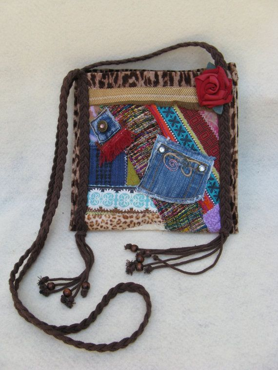 Small Hippie style Boho type OOAK Patchwork by FruitfullHands, $45.00