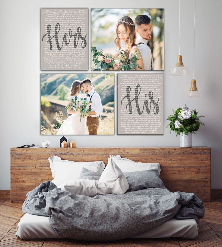 Wedding Vows Mr and Mrs, Custom Vows, His and Hers Vows, Set of 4 Canvases, Wedding Canvas Art, RockinCanvas