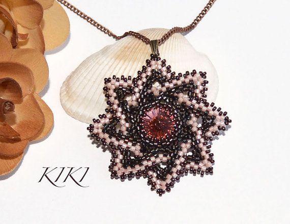 Pendant, Beaded star pendant with bezeled swarovski rivoli crystal - unique handmade beadwork