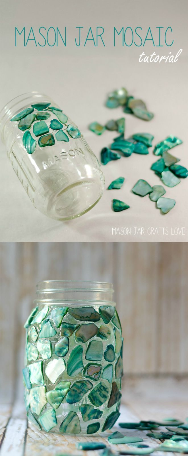 Superior Mason Jar Decorations Part - 8: Mason Jar Craft Ideas - Mason Jar Mosaic - Mosaic Craft - @Mason Jar Crafts