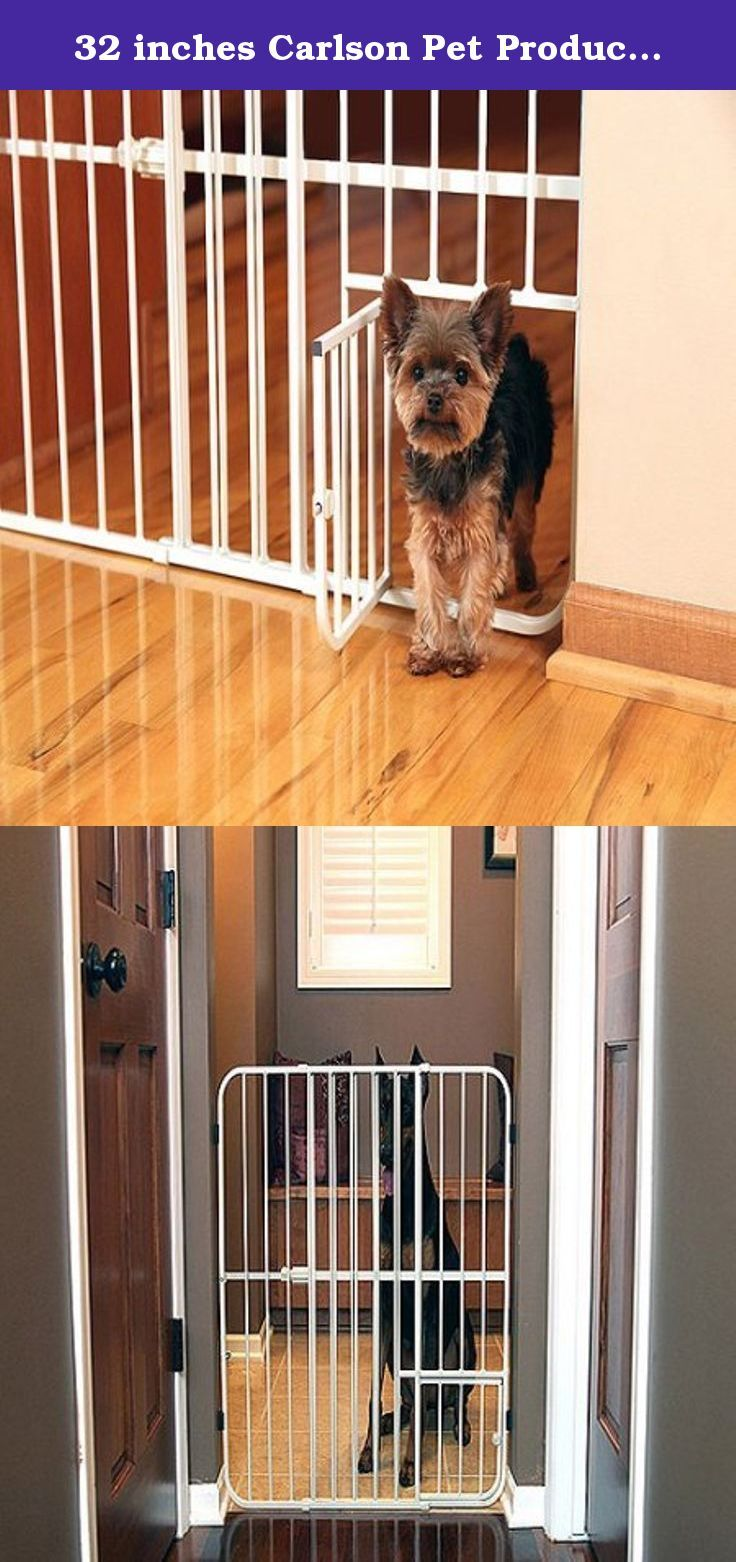 32 inches Carlson Pet Products Extra Tall Tuffy Metal Pet Gate, Adjustable , Extra Tall, 26 to 42 inches wide,Metal. The Carlson Pet Products Extra Tall Pet Gate stands 32 inches tall, so you can keep pets in or out of a room when you use it. Expanding 26 to 42 inches wide, this metal pet gate is quick and easy to set up, allowing you to customize it to your doorway. The sturdy and durable all-steel design on this Carlson Pet Gate makes it superior to plastic. With a patented small pet…