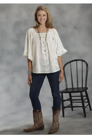 Women S Long Sleeve Roper White Peasant Blouse With Bell
