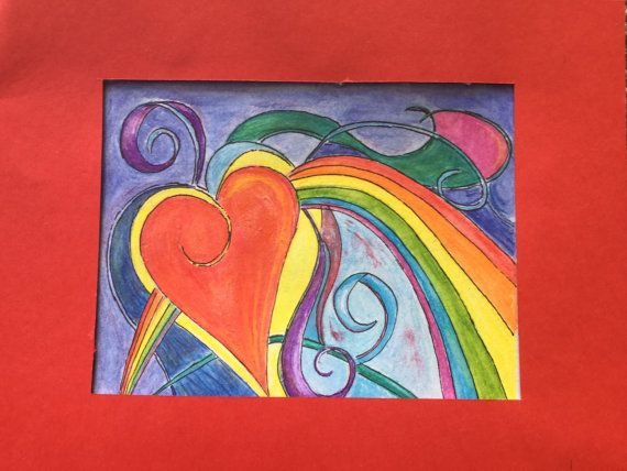 Rainbow heart. Ribbons and rainbow and heart. Bright colours and fun composition. Watercolour. by TinkerTailorDesign