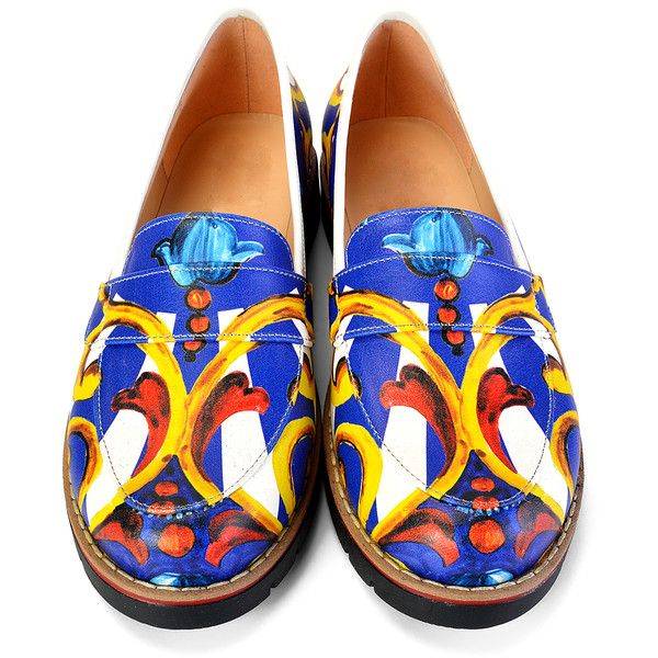 Alaska Blue & Gold Ornate Floral Loafer (2.840 RUB) ❤ liked on Polyvore featuring shoes, loafers, plus size, blue floral print shoes, blue loafer shoes, flower print shoes, flower pattern shoes and floral shoes