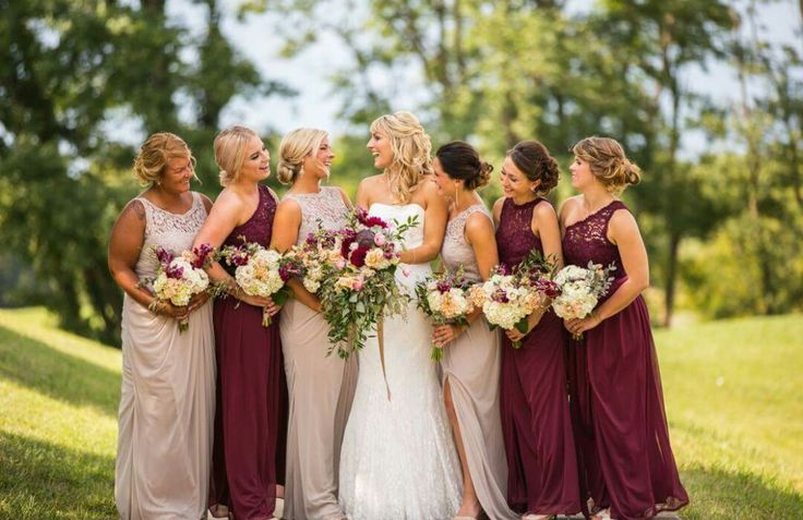 Bridesmaid dresses! Wine and biscotti - long bridesmaid dresses