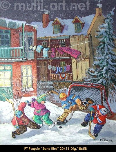 Original oil painting on canvas  by Pauline Thibodeau Paquin #paulinepaquin #art #artist #canadianartist #quebecartist #children #winterscene #originalpainting #oil #balcondart #multiartltee