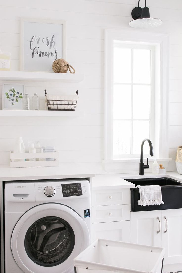 Simple, minimal and clean laundry room