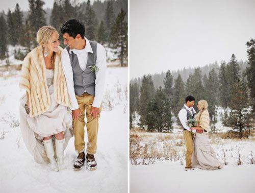 A Snowy Winter Wedding Attire