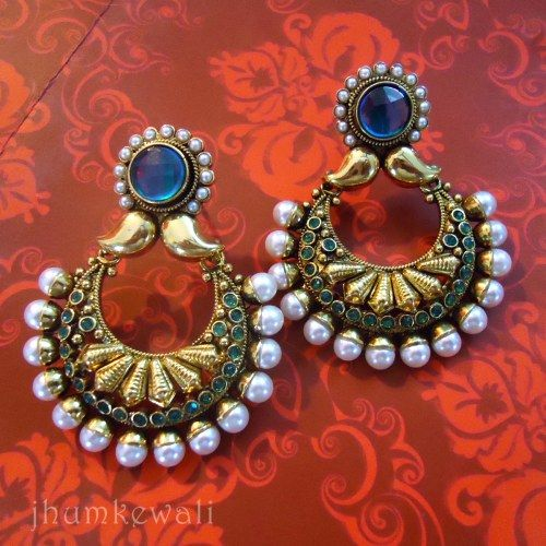 Chand Bali style Earrings - BLUE