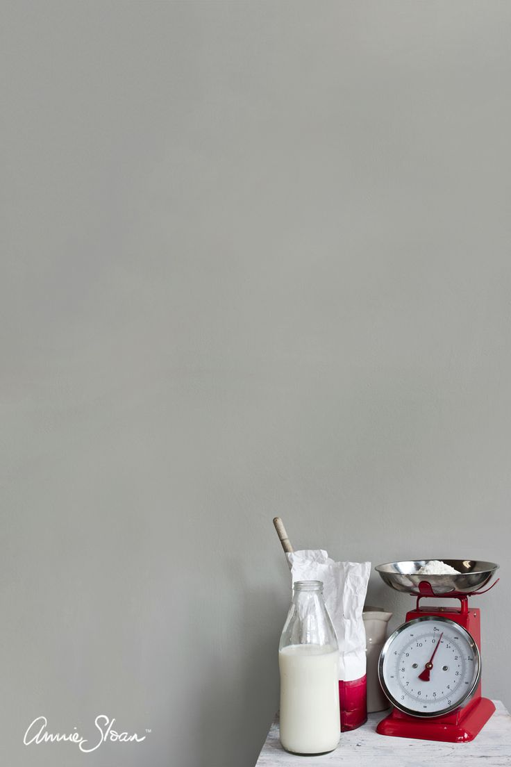 Annie Sloan Wall Paint in Paris Grey. This soft gray / grey is inspired by French and Swedish interiors. Wall Paint is a tough, water-based household paint that takes whatever life throws its way.